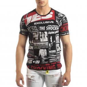 Мъжка тениска Exclusive News в черно