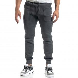 Мъжко сиво долнище с апликирани джобове