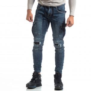 Мъжки сини Cargo Jeans рокерски стил  2