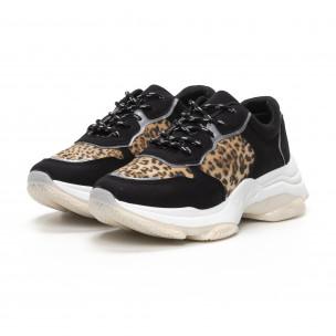 Chunky дамски маратонки в черно и леопард  2