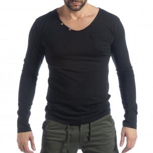 Мъжка блуза Vintage стил в черно
