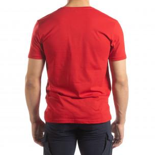 Червена мъжка тениска сребрист принт  2