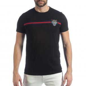 Мъжка черна тениска с кант и бродерия  2