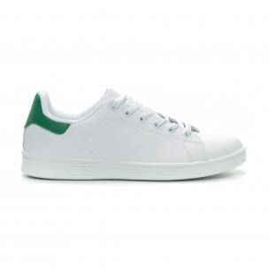 Basic мъжки бели кецове зелена пета