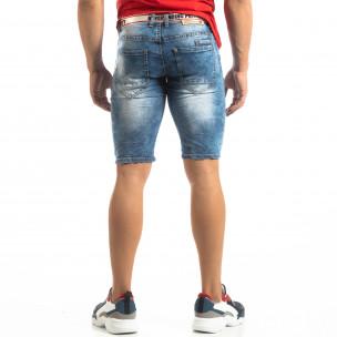 Мъжки намачкани къси дънки Slim-fit в синьо  2