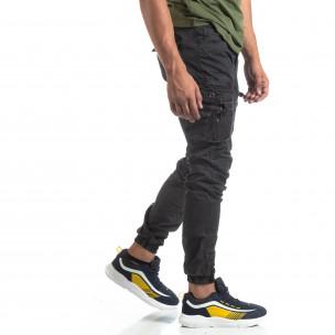 Черен мъжки панталон с ципове на джобовете