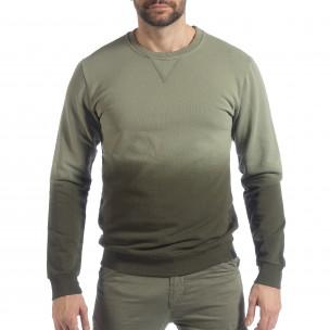 Мъжка зелена ватирана блуза с преливане  2