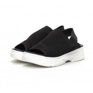 Дамски черни сандали тип чорап  2