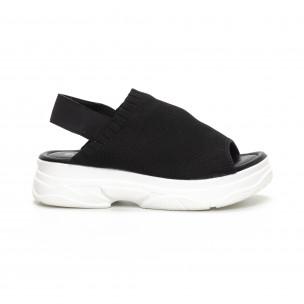 Дамски черни сандали тип чорап