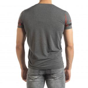 Мъжка тениска с принт в сив меланж  2