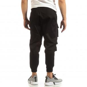 Cropped мъжки черен панталон с джобове  2