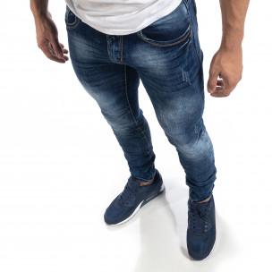 Сини мъжки дънки Washed Slim fit   2