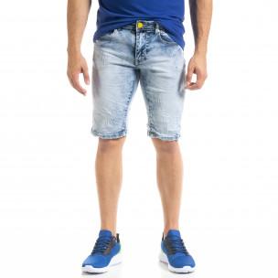 Slim fit мъжки къси дънки Washed сини  2