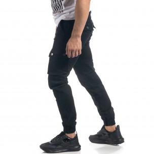 Мъжки черен панталон с карго джобове