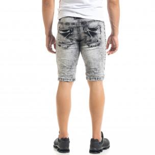 Slim fit мъжки къси дънки Washed черно 2