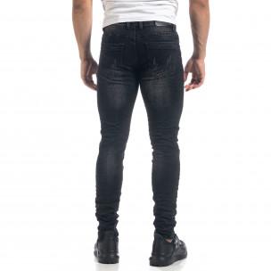 Черни мъжки Slim fit дънки с прокъсвания  2