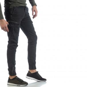 Черен карго панталон с ципове на крачолите