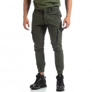 Мъжки зелен карго панталон с маншети трико  2