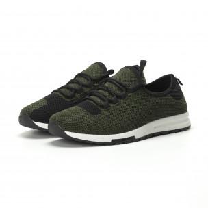 Леки текстилни мъжки маратонки в зелен меланж 2