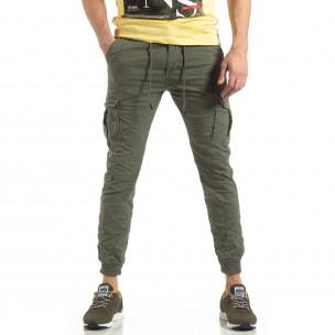 Зелен карго панталон с трикотажни маншети 2