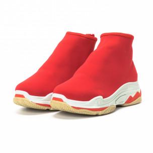 Дамски маратонки Slip-on червен неопрен 2