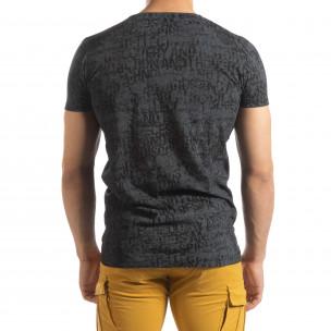 Vintage мъжка тениска в цвят графит  2