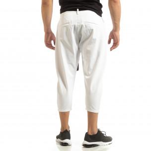 Cropped мъжки бял панталон брич стил 2