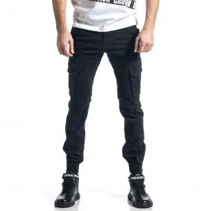 Черен панталон Cargo Jogger с ципове на крачолите