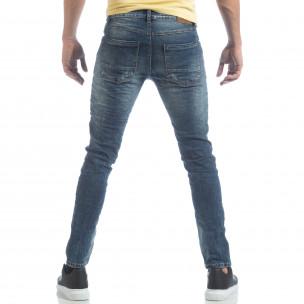 Сини мъжки Washed Jeans с кръпки  2