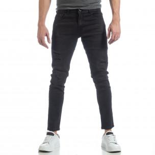 Черни мъжки дънки Slim fit с прокъсвания  2