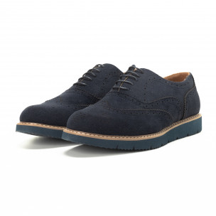 Casual мъжки обувки Wingtip син велур  2