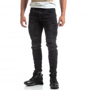 Мъжки черни Cargo Jeans рокерски стил  2