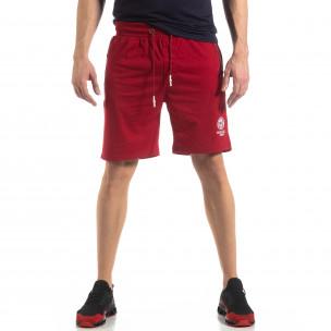Мъжки спортни шорти в тъмно червено  2