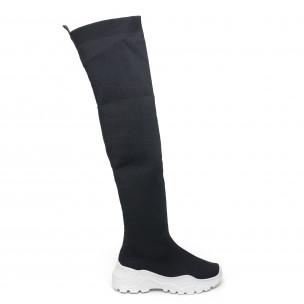 Дамски черни високи ботуши тип чорап
