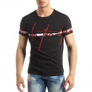 Мъжка тениска с принт в черно