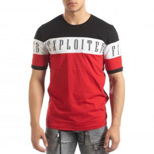 Мъжка тениска в черни и червени блокове