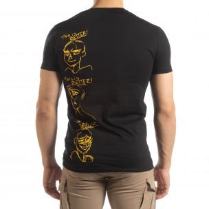 Черна мъжка тениска забавен принт  2