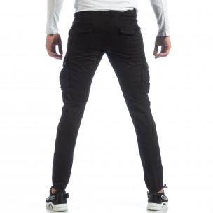 Черен мъжки панталон с карго джобове G-9 2