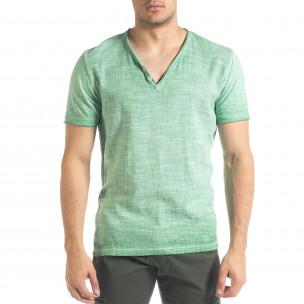 Зелена мъжка тениска от памук и лен
