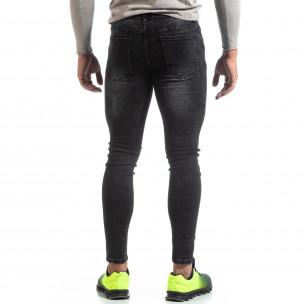 Skinny мъжки черни изтъркани дънки  2