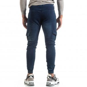 Мъжко синьо долнище тип Cargo Jeans  2