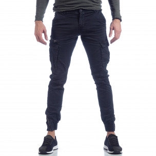 Син карго панталон с ципове на крачолите