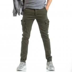 Мъжки панталон тип карго в зелено