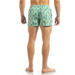 Мъжки зелен бански Cactus дизайн 2