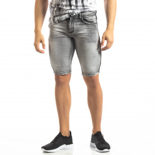 Мъжки намачкани къси дънки Slim-fit в сиво