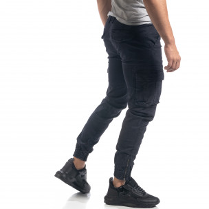 Син мъжки карго панталон с ципове на крачолите 2