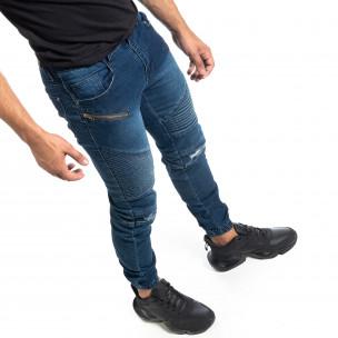 Мъжки дънки Biker Jogger с кръпки  2