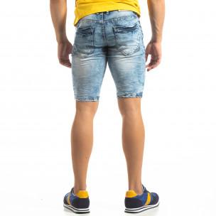 Мъжки намачкани къси дънки с избелял ефект 2