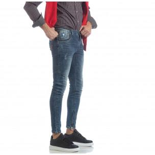 Мъжки намачкани Slim fit дънки с ципове