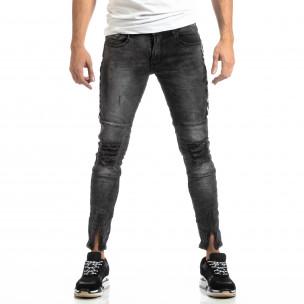 Мъжки Worn Jeans в сиво с акценти  2